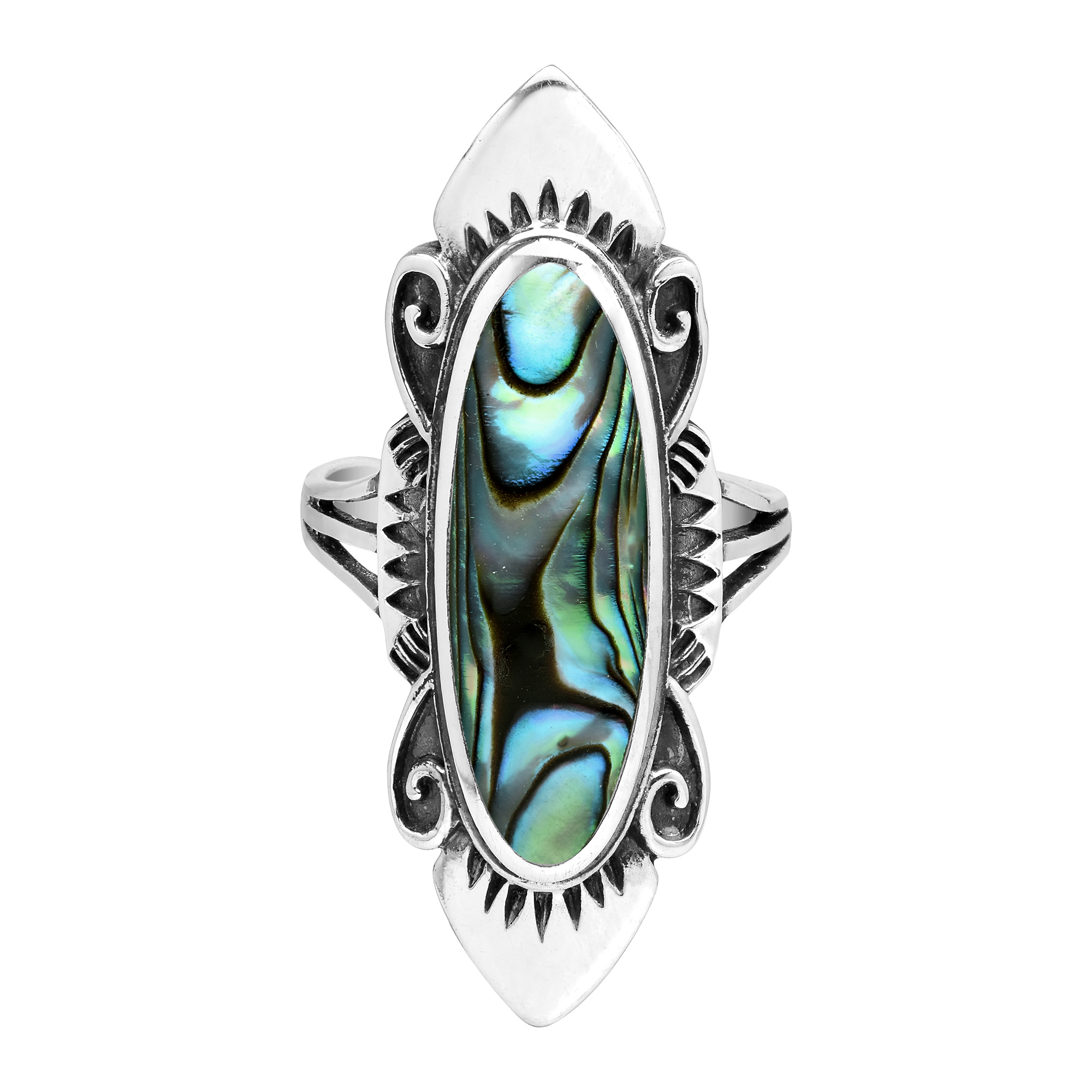 inlay in silver Dragon face Shell Ring. Inlay in Silver Shell Ring made in Sterling silver Dainty shell Ring for her
