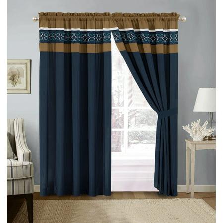 4-Pc Jaden Medallion Clover Star Embroidery Striped Curtain Set Navy Blue White Taupe Sheer Liner Drape - Mavy Blue