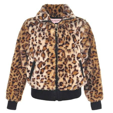 Urban Republic Little Girls Tan Leopard Pattern Plush Soft Zippered Jacket (Urban Leopard)