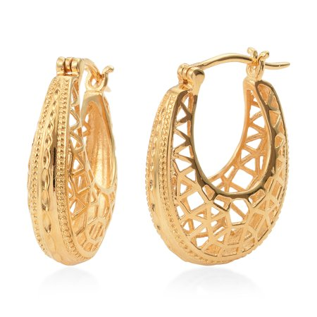 26ffe79c6 Shop LC - 14K Yellow Gold Plated Hoops Hoop Earrings Gift Jewelry for Women  - Walmart.com