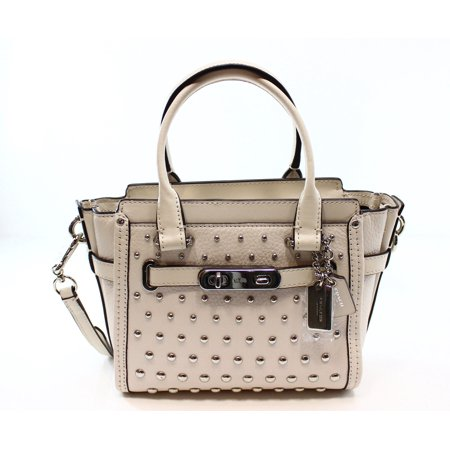 Coach New White Chalk Swagger 21 Pebble Leather Studded 452acb8334f41