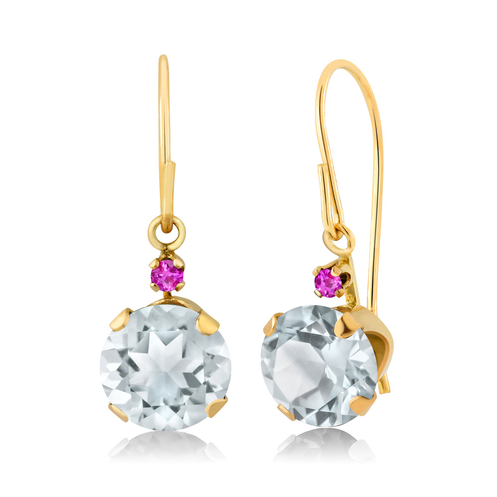 1.54 Ct Round Sky Blue Aquamarine Pink Sapphire 14K Yellow Gold Earrings by