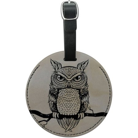 Owl Perched on Tree Branch Round Leather Luggage ID Tag Suitcase Carry-On