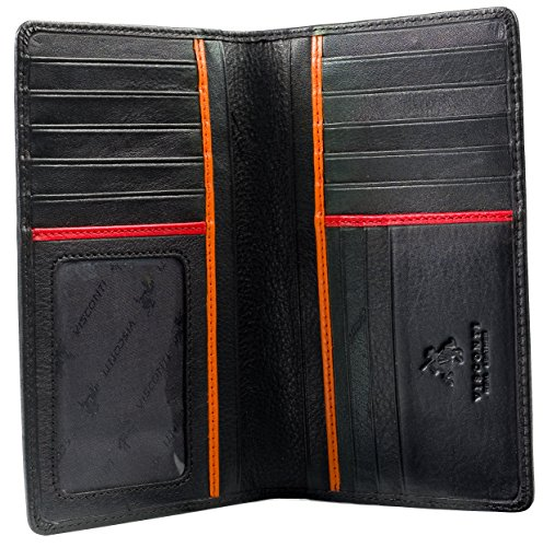 "Visconti Jaws BD12 Black Leather Tall Checkbook Wallet 4"" x 6.5"" (Black / Red..."