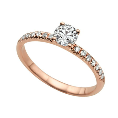 Channel Set Engagement Ring Moissanite C&C VS Colorless 5MM Solitaire 0.64 ctw 14K Rose Gold 4 Prongs