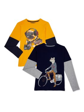 Tony Hawk Boys Hang Down Graphic Long Sleeve T-Shirt 2 Pack Sizes 4-16