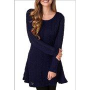Women's New Spring Winter Long Sleeve Jumper Tops Knitted Sweater Mini Dress (White S size)