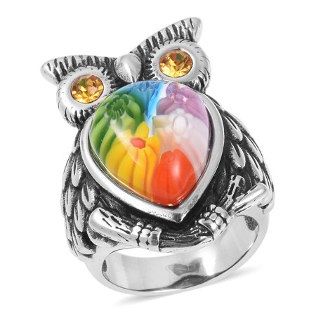 Murano Millefiori Ring (Cocktail Ring Stainless Steel Gift Jewelry for Women)