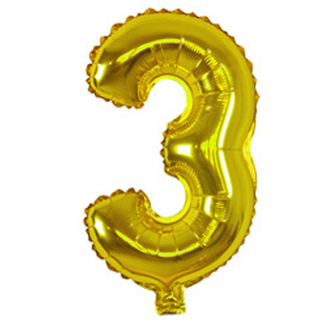 Foil Number 3 Shape Helium Balloon Birthday Wedding Party Decor Gold Tone 16""