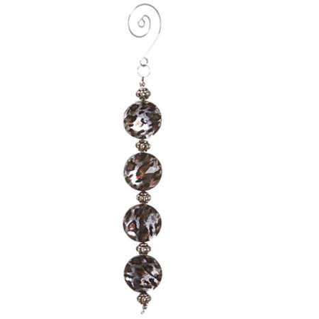 "6.5"" Diva Safari Silver Cheetah Print Faux Crystal Christmas Dangle Ornament"