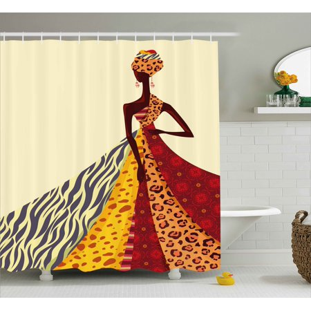 Modern Shower Curtain, African Girl Posing with a Dress of Different Design Patterned Image Artful Print, Fabric Bathroom Set with Hooks, Multicolor, by - Girl Shower