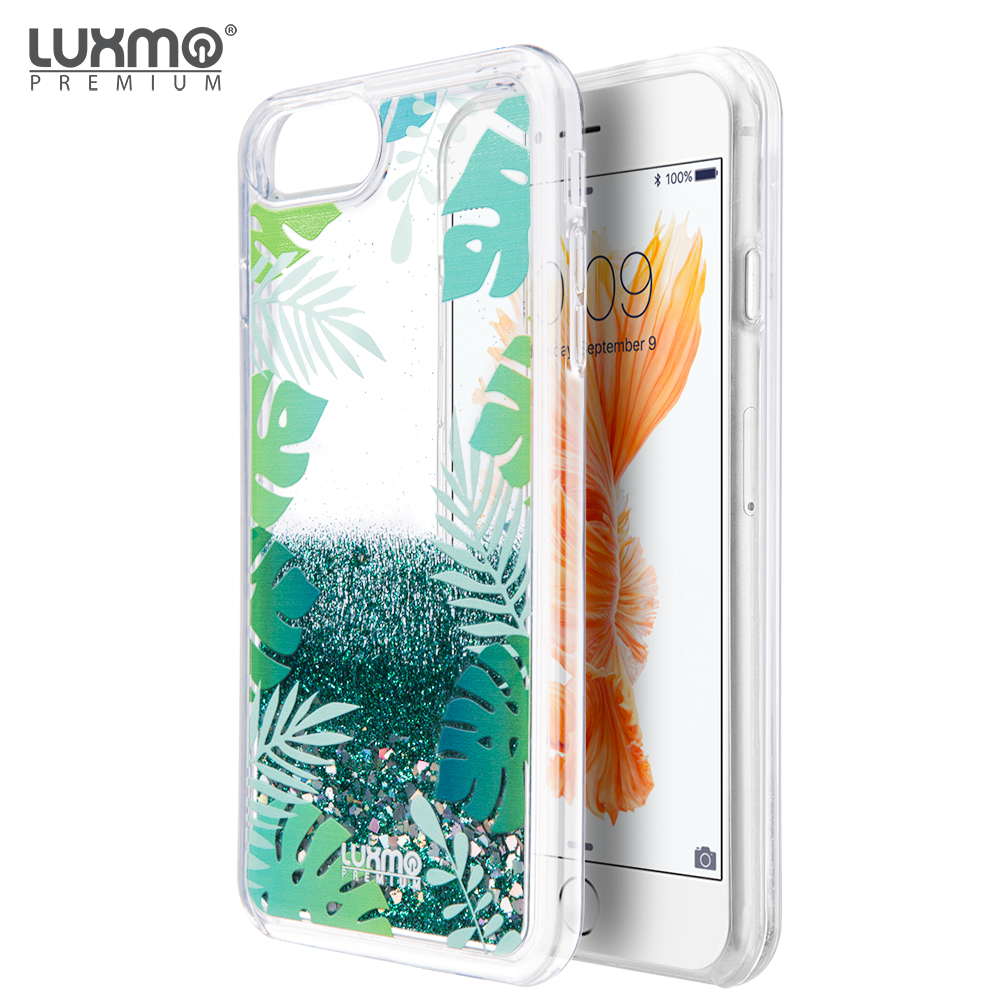 LUXMO Cell Phone Cases Cover For iPhone 8 /iPhone 7 / iPhone 6S / iPhone 6 Waterfall Fusion Liquid Sparkling Quicksand Cases - Tropical Summer