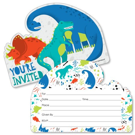 Roar Dinosaur - Shaped Fill-In Invitations - Dino Mite T-Rex Baby Shower or Birthday Party Invitation Cards with