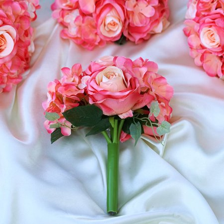 Balsacircle 4 Silk Roses And Hydrangea Bouquets Diy Home Wedding