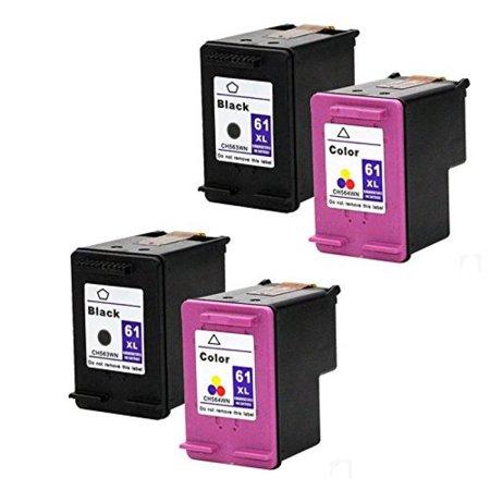 Hotcolor 2 Black   2 Color Tatal Of 4Pk 61 Xl New Generation For Hp Deskjet 3056A 3510 3516 3511 3512 Envy 4500 5530