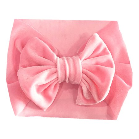 Fancyleo 1 Pcs Fashion Children's Gold Velvet Hair Band Baby Bow Wide Stretch Hair Accessories ()