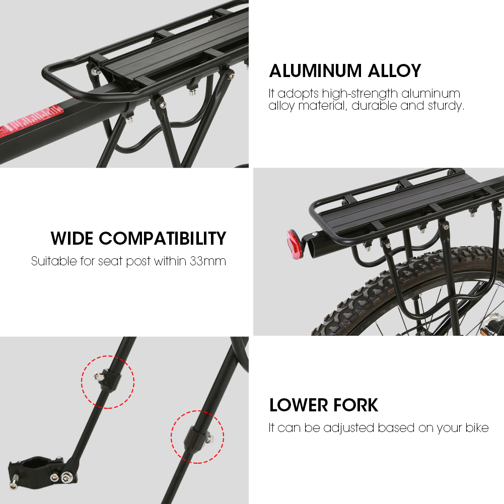 WALFRONT Aluminum Alloy Mountain Bike Bicycle Rear Seat Luggage Shelf Rack Carrier Cycling Accessory,Bike Luggage Rack,Bike Seat Rack - image 7 of 9