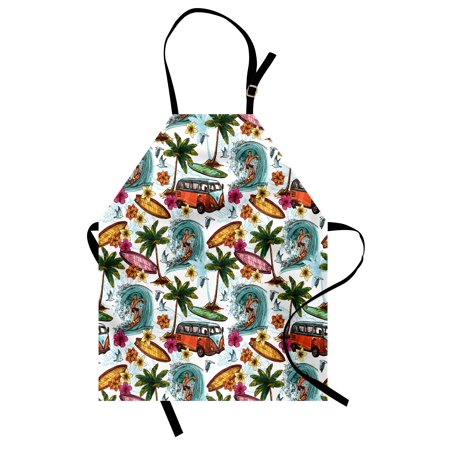 Ocean Apron Hawaiian Surfer on Wavy Deep Sea Retro Style Palm Trees Flowers Surf Boards Print, Unisex Kitchen Bib Apron with Adjustable Neck for Cooking Baking Gardening, Multicolor, by -