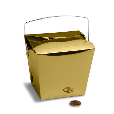 Metallic Gold Chinese Take Out Boxes 2 3/4