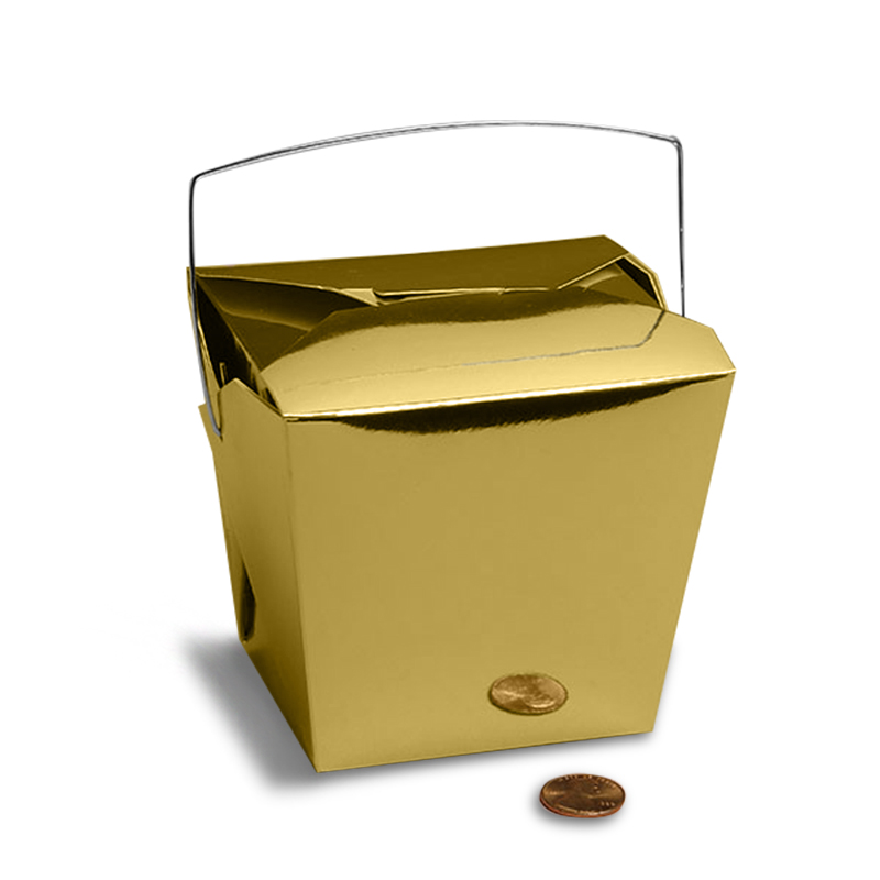 "Metallic Gold Chinese Take Out Boxes 2 3/4"" X 2"" 