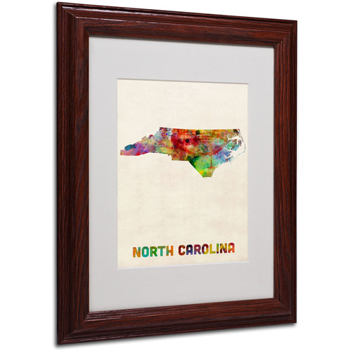 "Trademark Fine Art ""North Carolina Map"" Matted Framed Art by Michael Tompsett, Wood Frame"