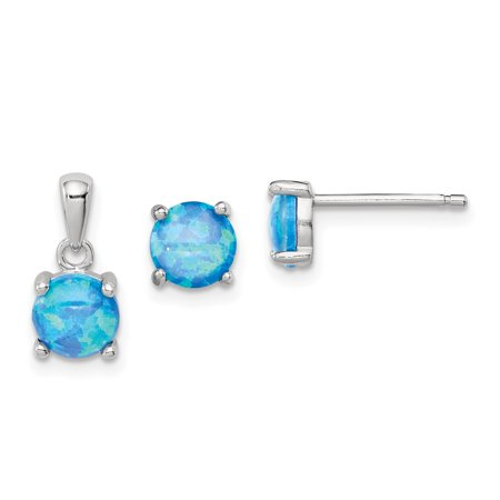 925 Sterling Silver Created Opal Pendant Charm Necklace Post Stud Earrings Set Fancy / Fine Jewelry Ideal Gifts For Women Gift Set From -