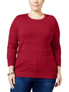 Karen Scott Womens Plus Knit Textured Pullover Sweater