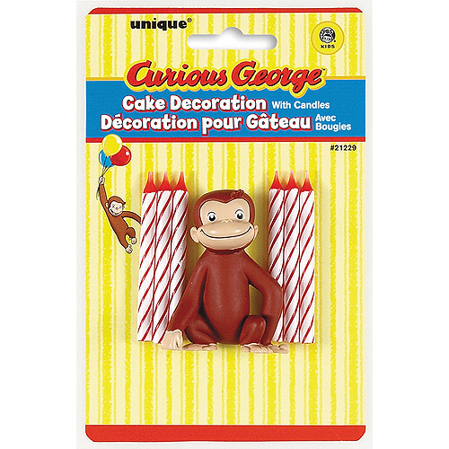 Curious George Candles and Cake Topper, 6-Piece Set