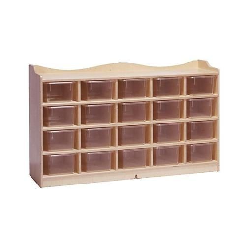 Heirloom Tray Cubby Storage in Natural Finish (20 Cubbies with Clear Trays)