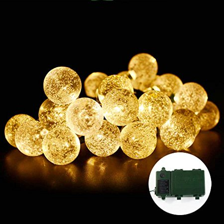 Qedertek Led Christmas Lights Super Bright Battery30 Led Crystal Ball String Lights For Indoor Lawn Patio Garden Fence Party Tree Holiday