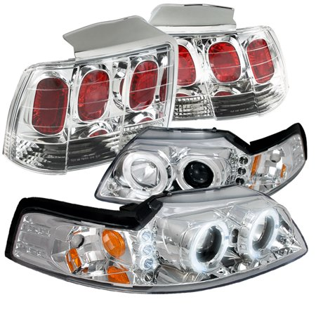 Spec-D Tuning For 1999-2004 Ford Mustang Clear Projector Headlights + Rear Brake Lamps Tail Lights (Left+Right) 1999 2000 2001 2002 2003 2004