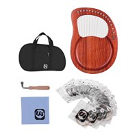 Walter.t WH16 16-String Wooden Lyre Harp Metal Strings Mahogany Solid Wood String Instrument with Carry Bag Tuning Wrench Cleaning Cloth Strings