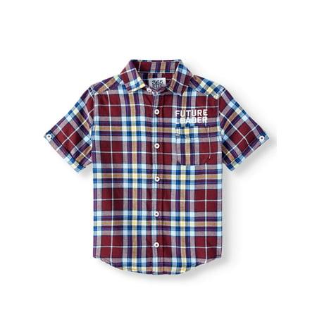 Little Me Plaid Dress Shirt - 365 Kids from Garanimals Short Sleeve Woven Plaid Shirt (Little Boys & Big Boys)