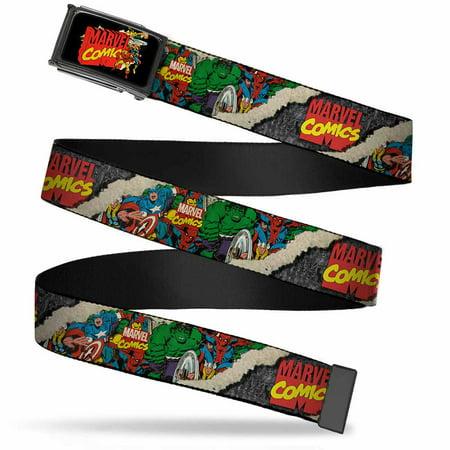 Marvel Comics Marvel Comics Characters Distressed Fcg Black 1 0  Chrome Web Belt 1 0  Wide