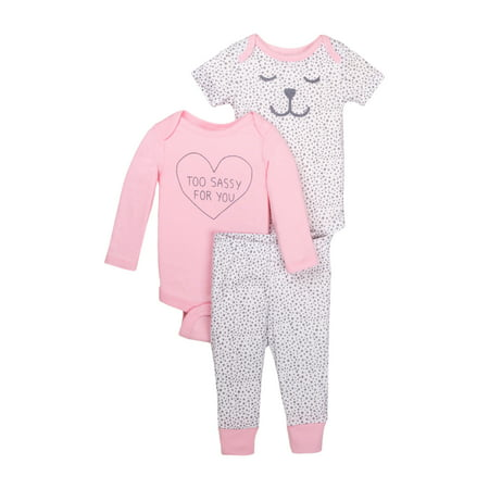 Newborn Baby Girl Bodysuit & Pant 3pc Outfit Set - Newborn Halloween Outfit