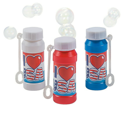 Fun Express - Usa Bubble Bottles 2oz for Fourth of July - Toys - Bubbles - Bubble Bottles - Fourth of July - 12 Pieces](Fourth Of July Plates)