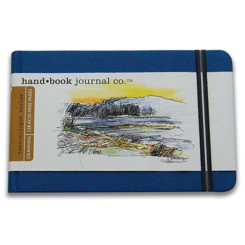 Global Art Handbook Travelogue Artist Journal, Large Landscape, 8.25in x 5.5in, Ultramarine Blue