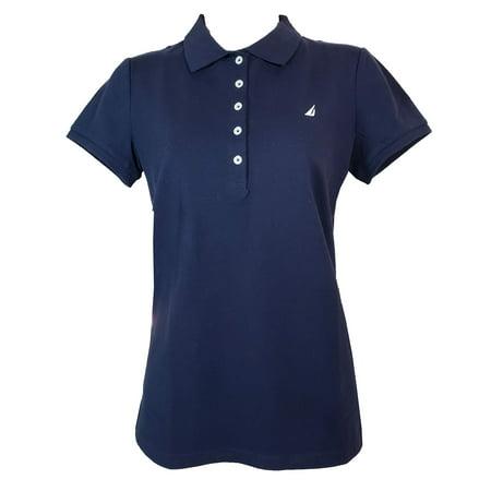 Nautica Women's Short Sleeve Stretch Solid Polo Shirt (Navy, Medium) One Button Short Sleeve Polo Shirt