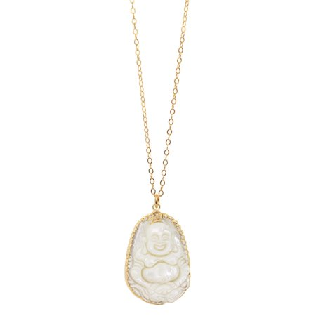 American Coin Treasures  Goldfill Mother of Pearl Buddha Necklace