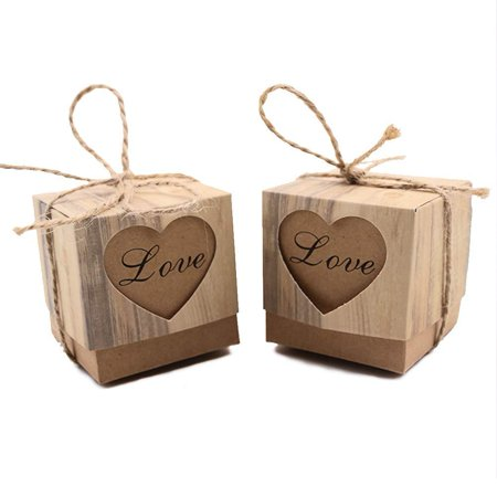 Bridal Shower Paper (VGoodall Rustic Candy Boxes,100pcs Wedding Favor Boxes,Love Kraft Bonbonniere Paper Boxes with Burlap Jute Twine for Bridal Shower Wedding Birthday Party Rustic Wedding)