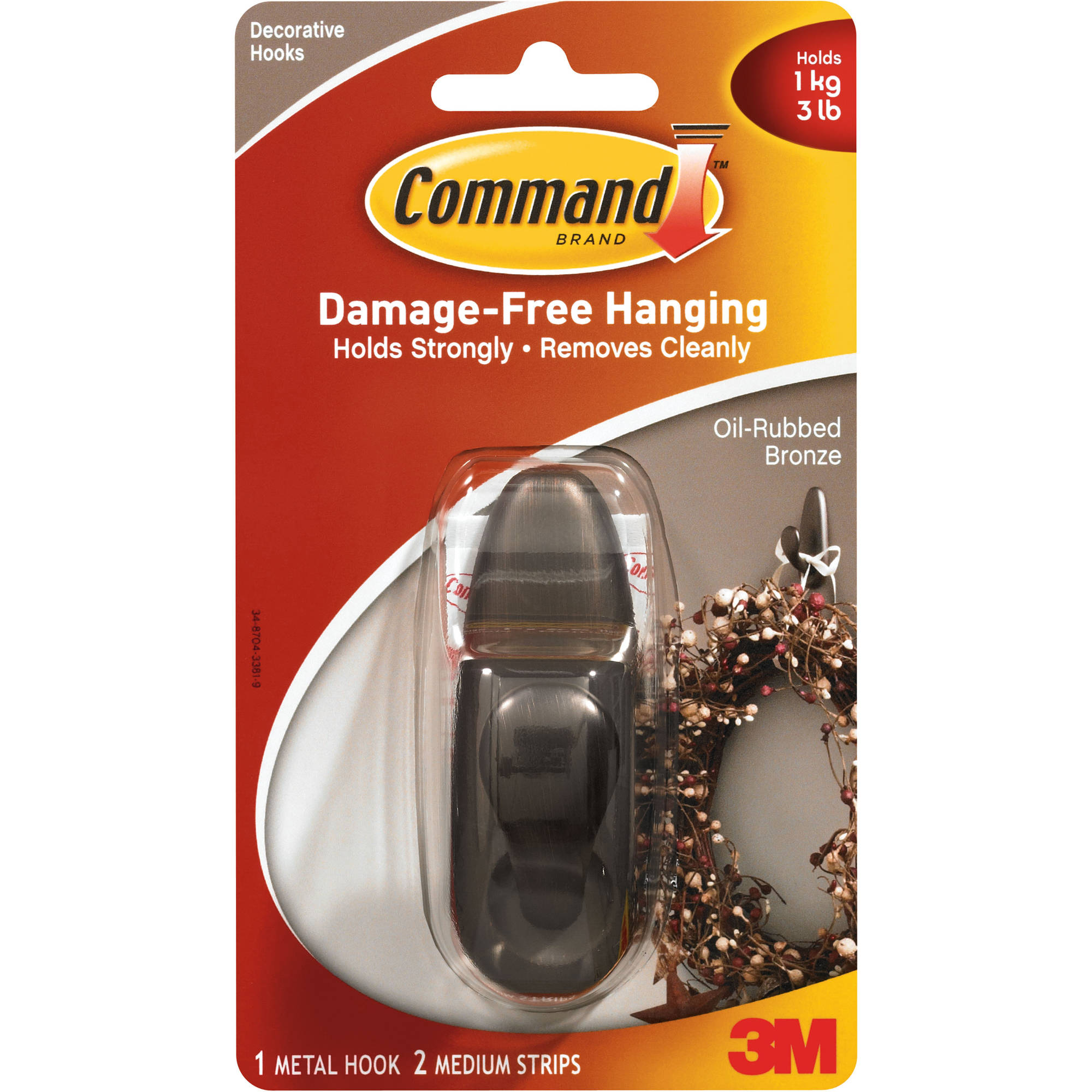Command Medium Forever Classic Hook, Oil Rubbed Bronze, 1 Hook, 2 Strips, FC12-ORB