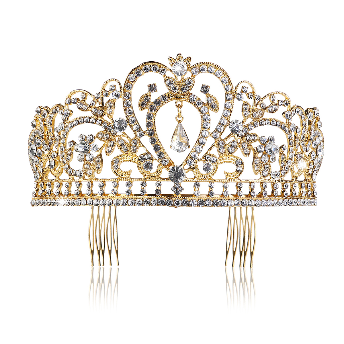 PIXNOR Wedding Tiara with Comb Rhinestones Crystal Bridal Headband Pageant Princess Crown (Gold)