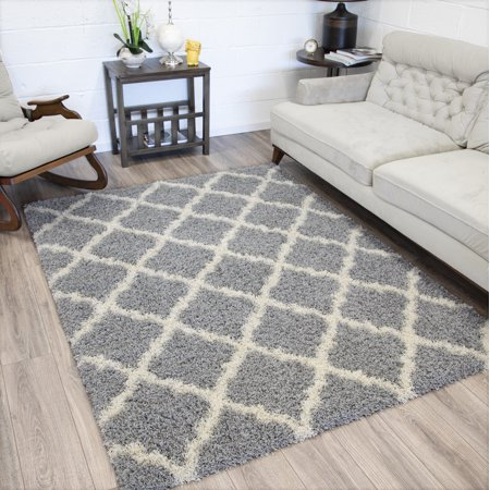 Sweet Home Stores Cozy Shag Collection Moroccan Trellis Design Indoor Shaggy Area or Runner Rug