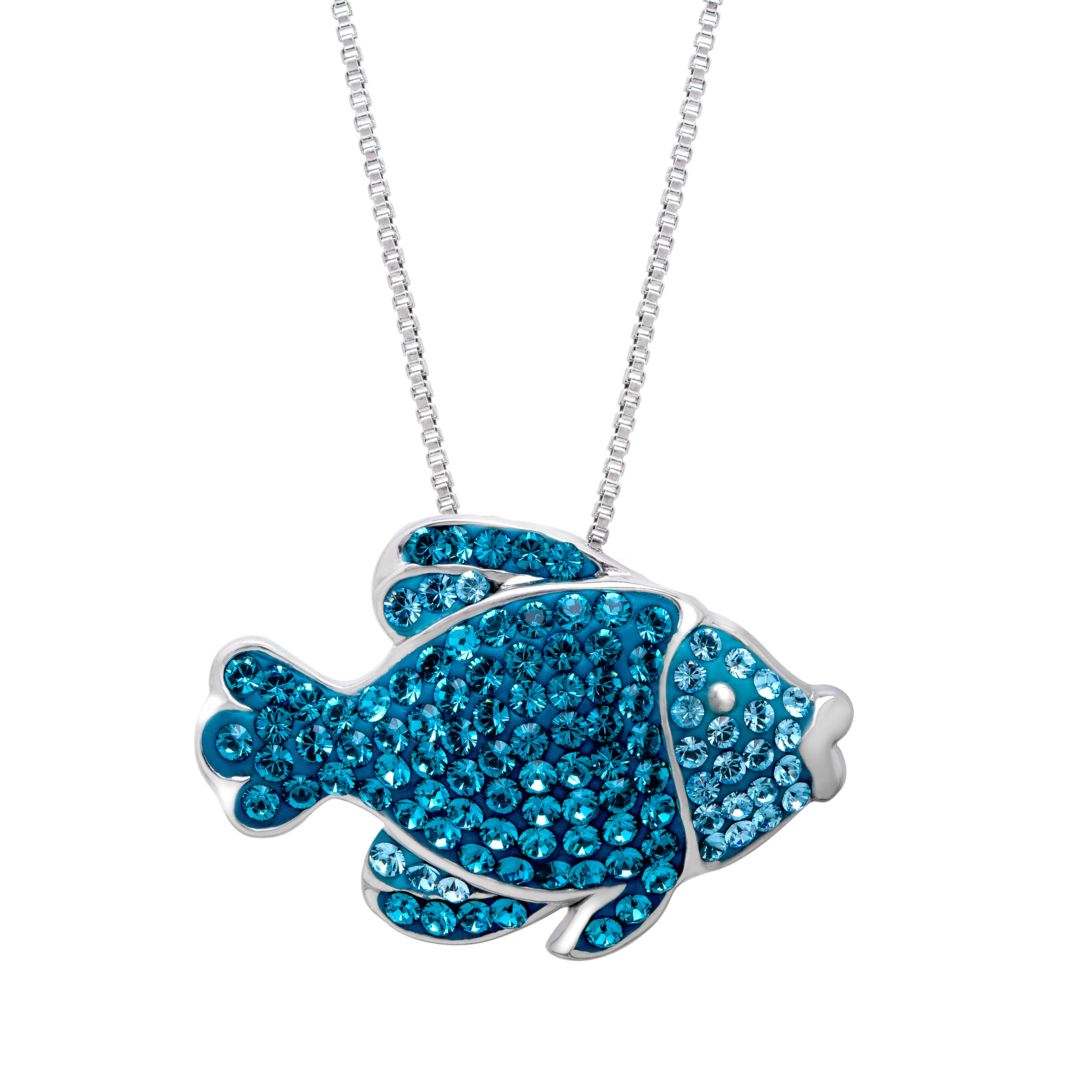 Crystaluxe Fish Pendant Necklace with Sky Blue & Indicolite Swarovski Crystals in Sterling Silver