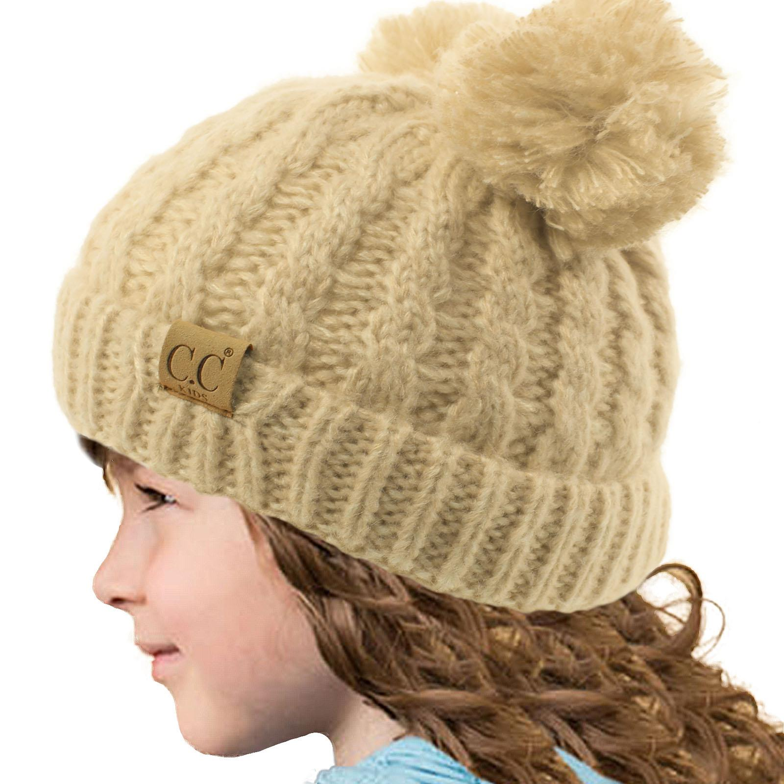 Girls Winter Beanie Hat Children Knitted Girl Hats Worm Kids Suzy Large Pom Pom