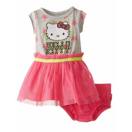 Hello Kitty Infant Girls Gray & Pink Tulle Dress Outfit 2 Piece Set (Hello Kitty Birthday Outfit)