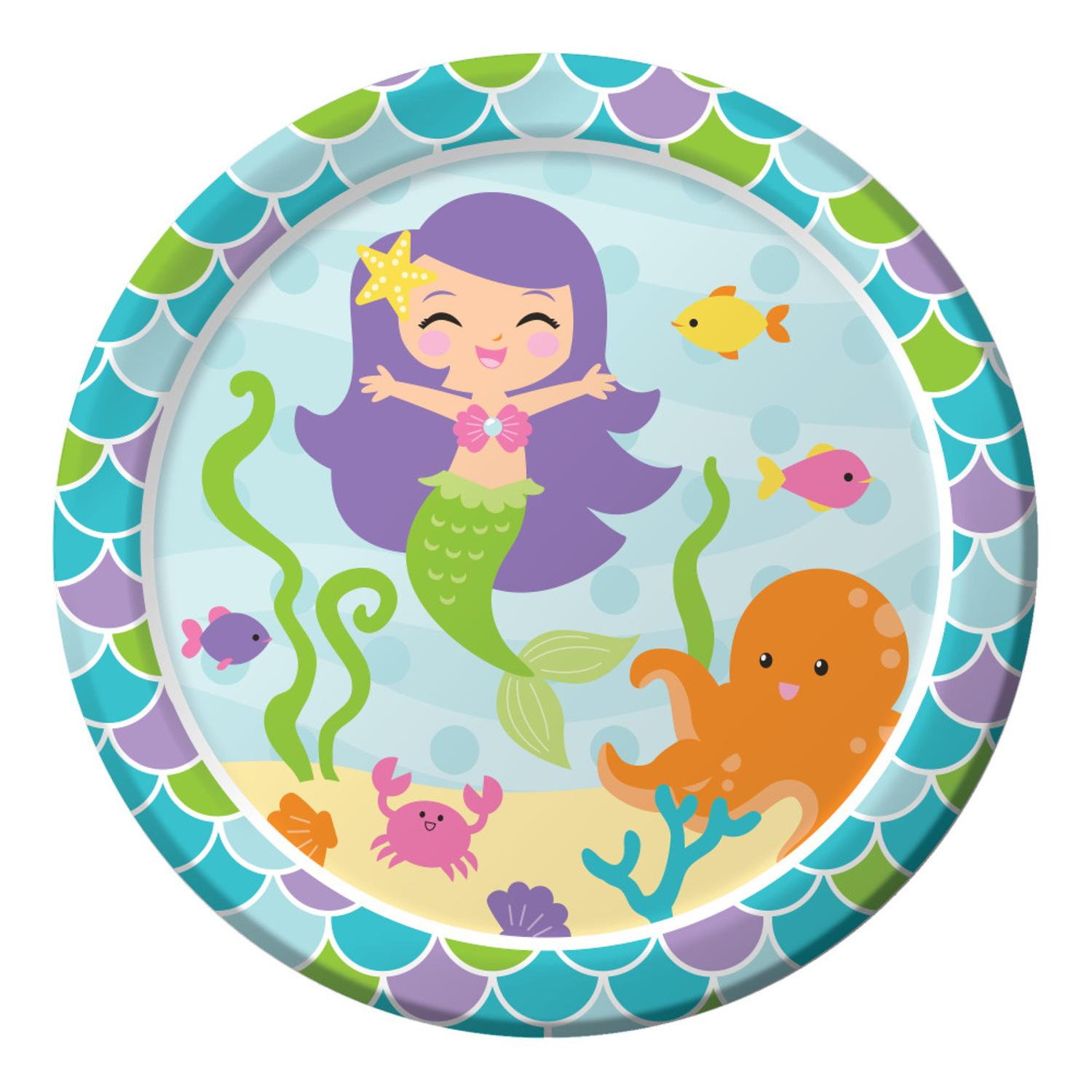 """Club Pack of 96 Mermaid Friends Paper Party Disposable Dinner Plates 9"""""""