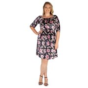 24seven Comfort Apparel Halter Strap Off Shoulder Floral Plus Size Velvet Dress in Print Size 1X
