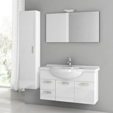 ACF by Nameeks ACF PH06-GW Phinex 39-in. Single Bathroom Vanity Set - Glossy White