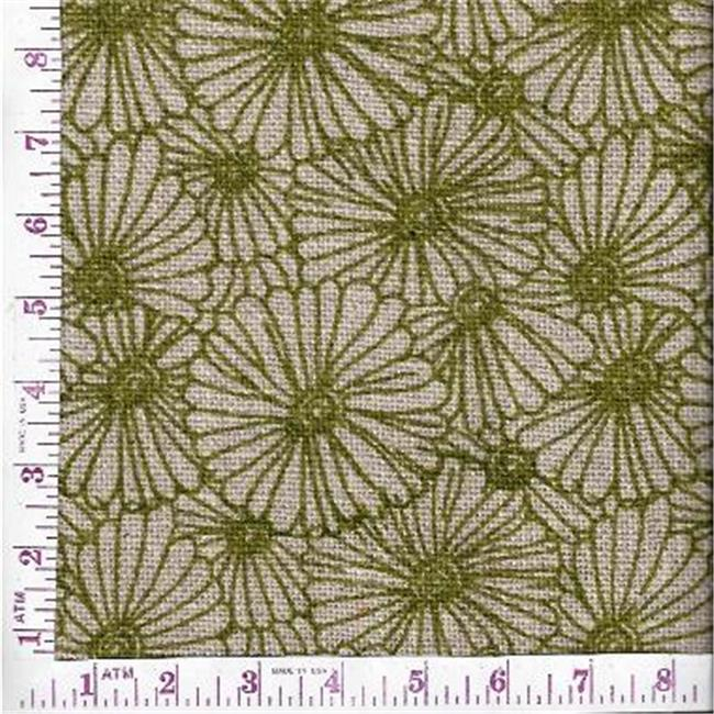 Textile Creations BLV-121 Burlap Printed, Floral All Over Sage On Natural